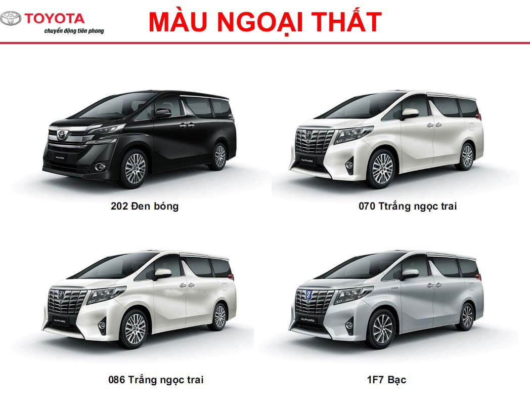 Màu sắc ngoại thất của xe Toyota Alphard 2021 có 4 màu chính