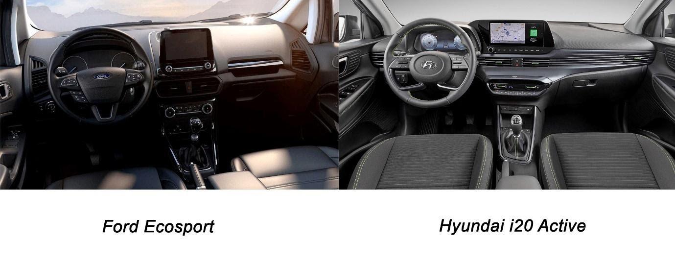 Khoang nội thất xe Ford Ecosport và Hyundai i20 Active