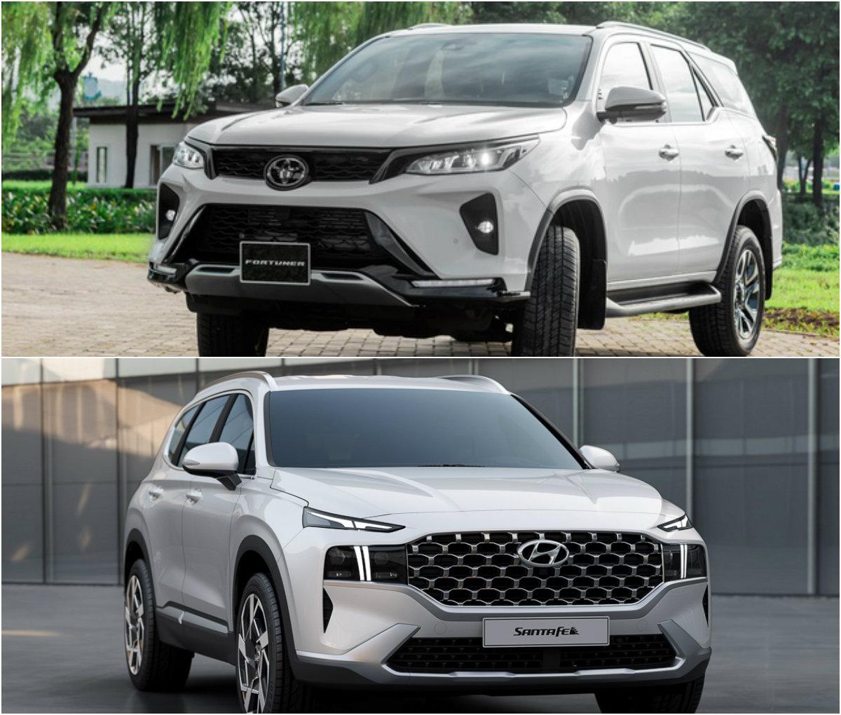 Không có sự chênh lệch nhiều về kích cỡ giữa Hyundai Santafe và Fortuner