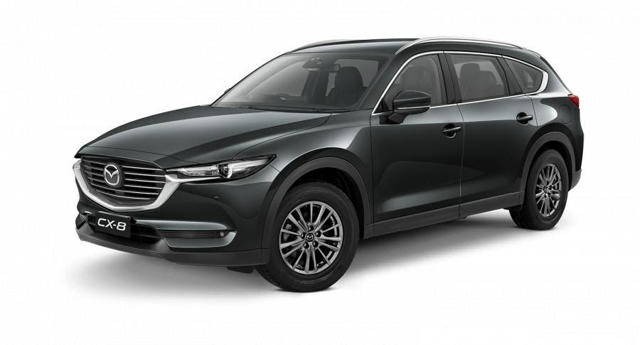 Mazda CX-8 2021 màu xám.