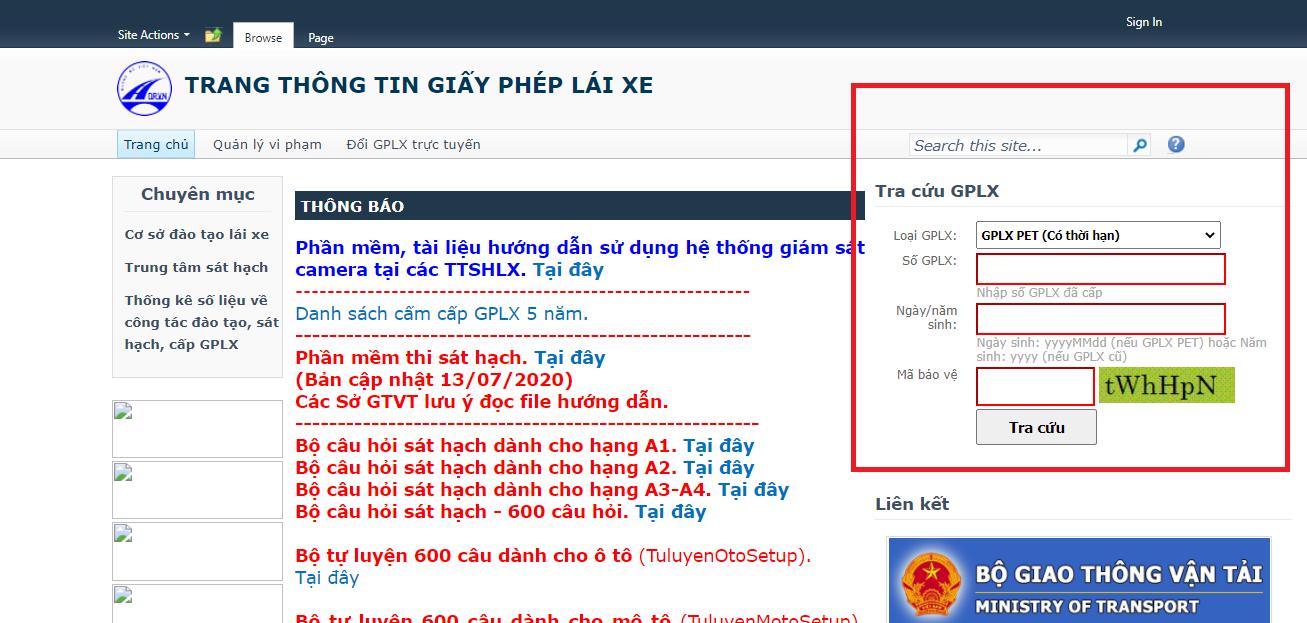 Giao diện trang web chính thức của tổng cục đường bộ Việt Nam